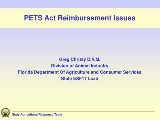 PETS Act Reimbursement Issues
