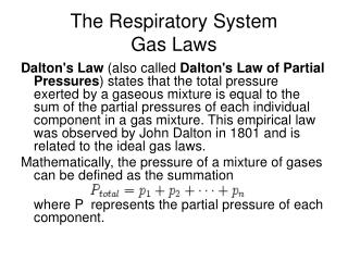 The Respiratory System Gas Laws