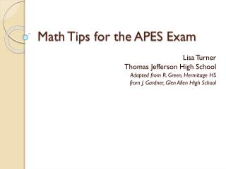 Math Tips for the APES Exam