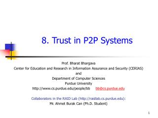 8. Trust in P2P Systems