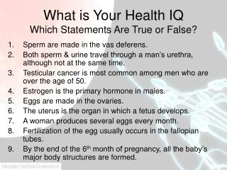 What is Your Health IQ Which Statements Are True or False?