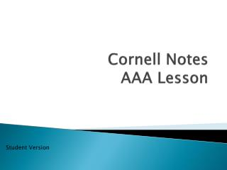 Cornell Notes AAA Lesson