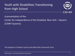 Youth with Disabilities Transitioning  from High School