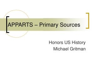 APPARTS – Primary Sources