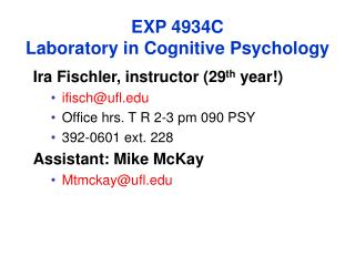 EXP 4934C Laboratory in Cognitive Psychology