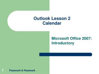 Outlook Lesson 2 Calendar