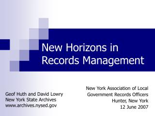 New Horizons in Records Management