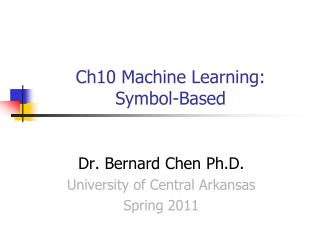 Ch10 Machine Learning:  Symbol-Based