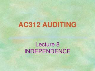 AC312 AUDITING