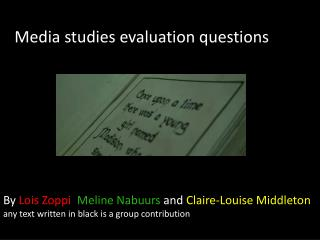 Media studies evaluation questions