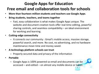 Google Apps for Education Free email and collaboration tools for schools