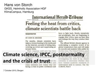 Climate science, IPCC, postnormality and the crisis of trust