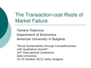 The Transaction-cost Roots of Market Failure
