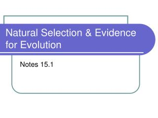Natural Selection & Evidence for Evolution
