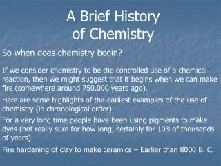 A Brief History of Chemistry