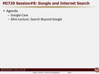 MI720 Session#8: Google and Internet Search