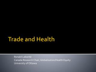 Trade and Health