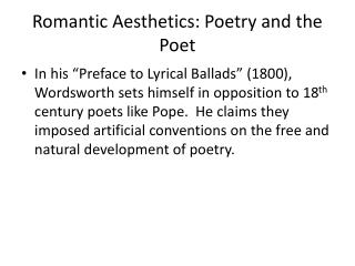 Romantic Aesthetics: Poetry and the Poet