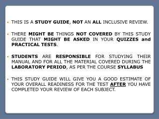 THIS IS A  STUDY GUIDE ,  NOT  AN  ALL  INCLUSIVE REVIEW.