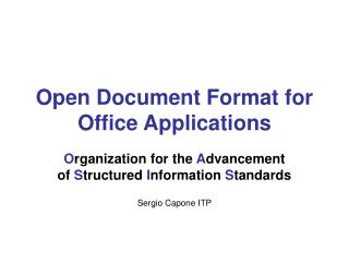 Open Document Format for Office Applications