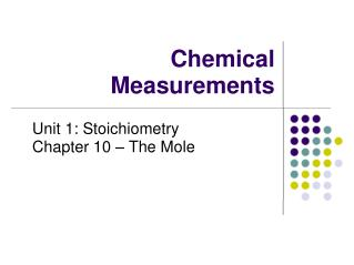 Chemical Measurements