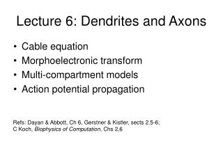 Lecture 6: Dendrites and Axons