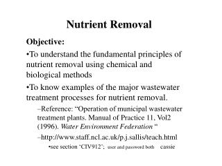 Nutrient Removal