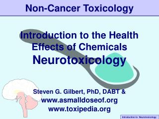 Non-Cancer Toxicology