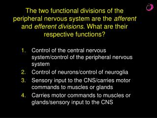 Control of the central nervous system/control of the peripheral nervous system