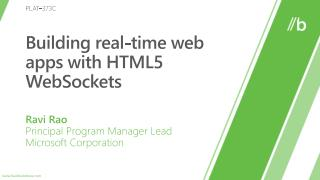 Building real-time web  apps  with HTML5 WebSockets