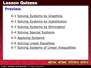 6-1  Solving Systems by Graphing 6-2  Solving Systems by Substitution