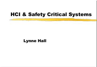 HCI & Safety Critical Systems
