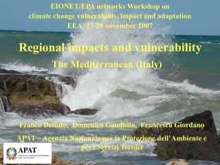 EIONET/EPA networks Workshop on climate change vulnerability, impact and adaptation