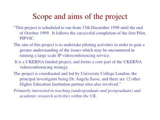 Scope and aims of the project
