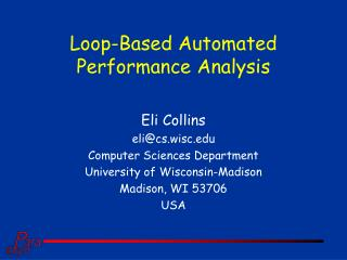 Loop-Based Automated  Performance Analysis