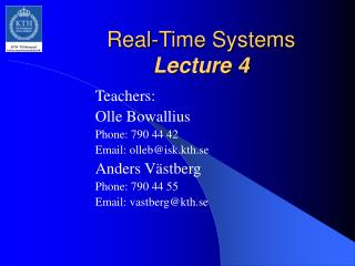 Real-Time Systems Lecture 4