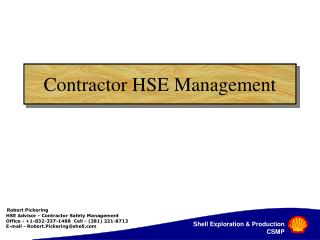 Contractor HSE Management