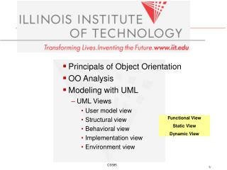 Principals of Object Orientation OO Analysis  Modeling with UML  UML Views User model view