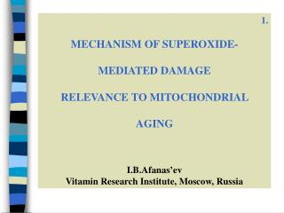 1 . MECHANISM OF SUPEROXIDE-  MEDIATED DAMAGE  RELEVANCE TO MITOCHONDRIAL  AGING I.B.Afanas'ev