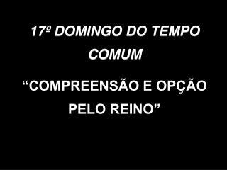 """17º DOMINGO DO TEMPO COMUM """"COMPREENSÃO E OPÇÃO PELO REINO"""""""