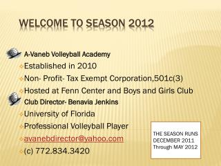Welcome to Season 2012