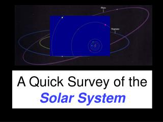 A Quick Survey of the  Solar System