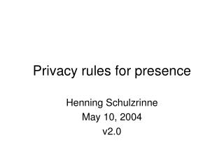 Privacy rules for presence