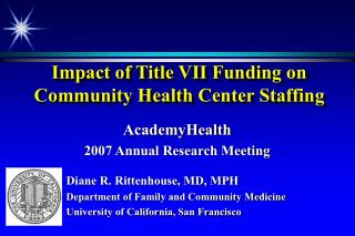 Impact of Title VII Funding on Community Health Center Staffing