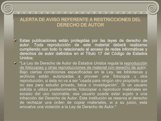 ALERTA DE AVISO REFERENTE ARESTRICCIONES DEL DERECHO DE AUTOR