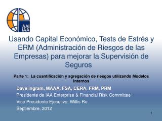 Dave Ingram, MAAA, FSA, CERA, FRM, PRM Presidente  de IAA Enterprise & Financial Risk Committee