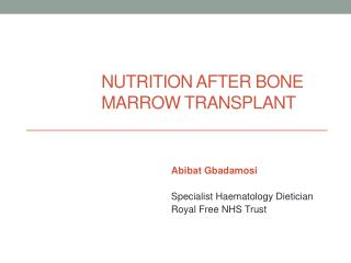 Nutrition After Bone Marrow Transplant