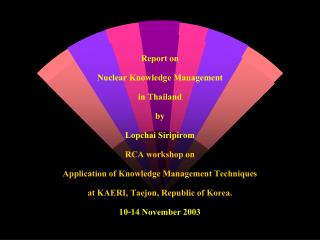 Report on  Nuclear Knowledge Management  in Thailand by Lopchai Siripirom RCA workshop on Application of Knowledge Manag
