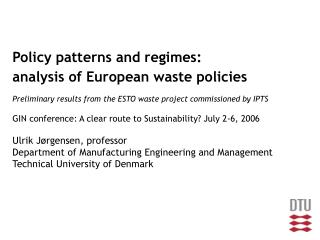 Policy patterns and regimes: analysis of European waste policies