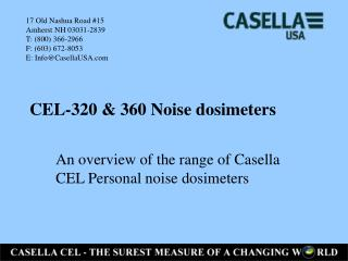 CEL-320 & 360 Noise dosimeters